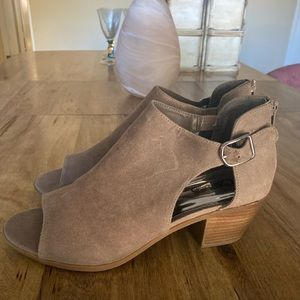 *Never Worn* Tan Suede Open-Toed Booties (Size 10)